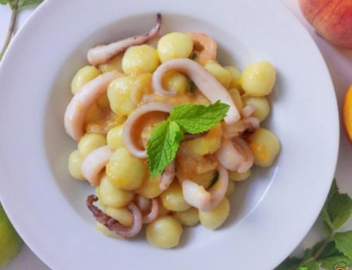 Gnocchi di patate con calamaro, lime, menta e zenzero